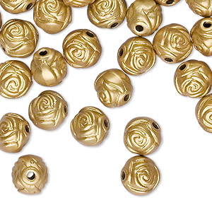 bead, acrylic, gold, 8mm round rose with 1.5mm hole. sold per pkg of 100.