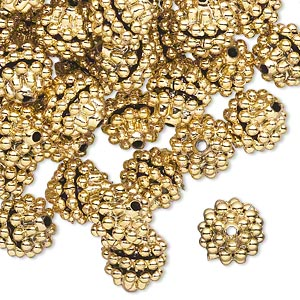 bead, acrylic, gold color, 10mm round with razzleberry design. sold per pkg of 100.