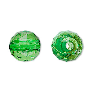 bead, acrylic, green, 15mm faceted round. sold per 100-gram pkg, approximately 50 beads.