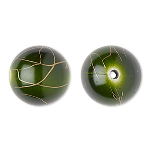 bead, acrylic, green and gold, 18mm round with swirls. sold per pkg of 30.