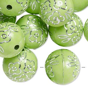 bead, acrylic, green and silver, 18mm round with flower design, 2.5mm hole. sold per pkg of 24.