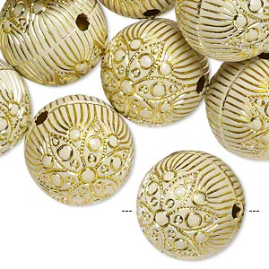bead, acrylic, ivory and gold, 18mm round with flower and line design, 2.5mm hole. sold per pkg of 24.