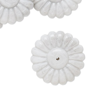bead, acrylic, light grey, 29x10mm flower rondelle. sold per pkg of 12.