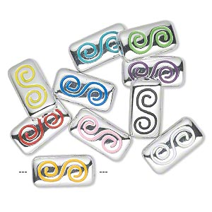 bead, acrylic, mixed colors, 35x18mm rectangle with swirl. sold per pkg of 10.