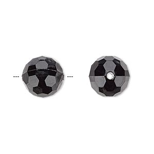 bead, acrylic, opaque black, 12mm faceted round. sold per 100-gram pkg, approximately 100 beads.
