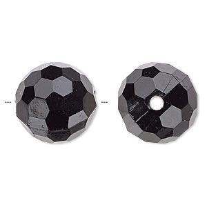 bead, acrylic, opaque black, 20mm faceted round. sold per 100-gram pkg, approximately 20 beads.