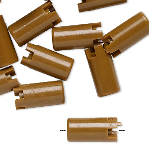 bead, acrylic, opaque brown, 16x8mm interlocking round tube. sold per pkg of 24.