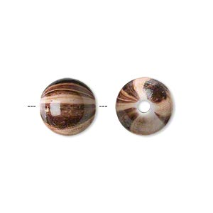 bead, acrylic, opaque light brown and dark brown, 12mm round with woodgrain design. sold per pkg of 100.