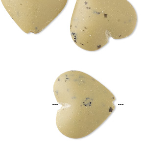 bead, acrylic, opaque matte tan and black, 21x19mm puffed heart with speckles. sold per pkg of 20.