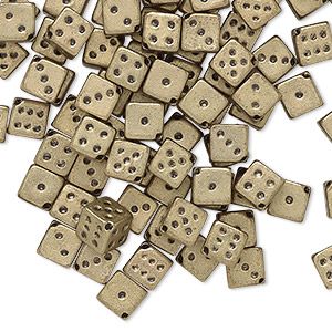 bead, acrylic, opaque metallic gold, 5mm dice. sold per pkg of 100.