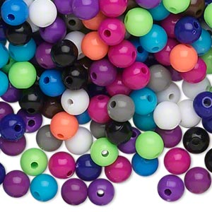 bead, acrylic, opaque winter colors, 6mm round. sold per pkg of 1,116.