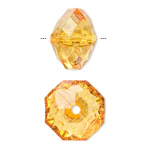 bead, acrylic, orange, 18x13mm faceted rondelle. sold per 100-gram pkg, approximately 40 beads.