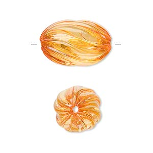 bead, acrylic, orange, 20x13mm fluted oval. sold per 100-gram pkg, approximately 50 beads.