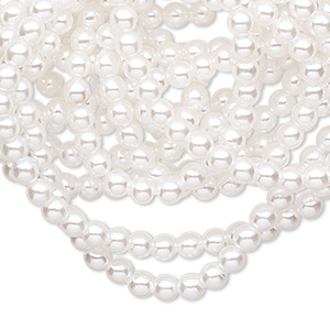 bead, acrylic pearl, white, 3.5mm round. sold per 58-inch strand.