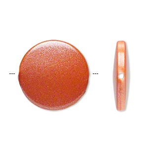 bead, acrylic, pearlized orange, 21mm flat round. sold per pkg of 70.