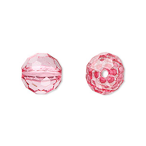 bead, acrylic, pink, 12mm faceted round. sold per 100-gram pkg, approximately 100 beads.
