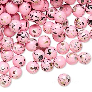 bead, acrylic, pink with gold/silver/black speckles, 6mm round. sold per pkg of 800.