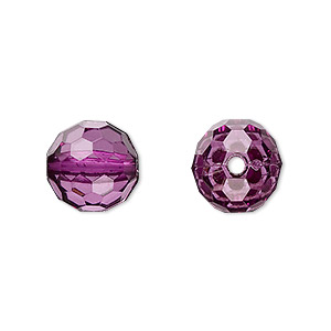 bead, acrylic, purple, 12mm faceted round. sold per 100-gram pkg, approximately 100 beads.