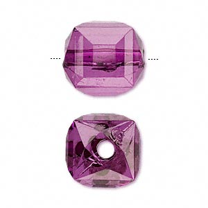 bead, acrylic, purple, 17x15mm faceted cube. sold per 100-gram pkg, approximately 30 beads.