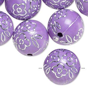 bead, acrylic, purple and silver, 18mm round with flower design, 2.5mm hole. sold per pkg of 24.