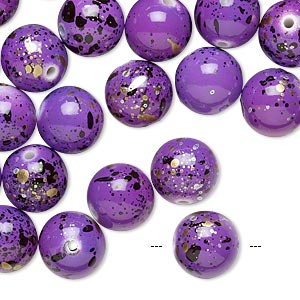 bead, acrylic, purple with gold/silver/black speckles, 10mm round. sold per pkg of 170.