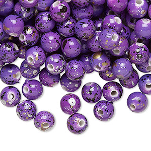 bead, acrylic, purple with gold/silver/black speckles, 6mm round. sold per pkg of 800.
