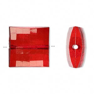 bead, acrylic, red, 19x19mm faceted puffed square. sold per 100-gram pkg, approximately 25 beads.
