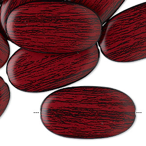 bead, acrylic, red and black, 29x16mm double-sided flat oval with woodgrain design. sold per pkg of 30.