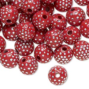 bead, acrylic, red and silver, 10mm round with dots, 2mm hole. sold per pkg of 100.