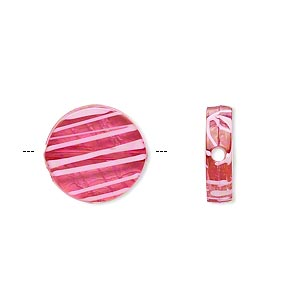 bead, acrylic, semitransparent fuchsia and white, 15mm flat round with painted line design. sold per pkg of 140.