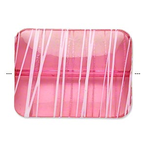 bead, acrylic, semitransparent fuchsia and white, 40x30mm puffed rectangle with painted line design. sold per pkg of 12.