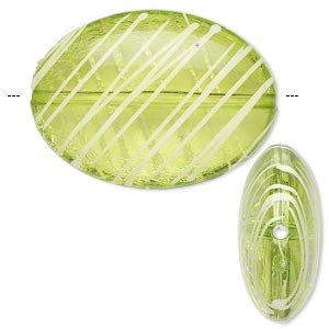 bead, acrylic, semitransparent green and white, 33x24mm puffed oval with painted line design. sold per pkg of 18.