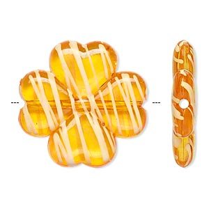 bead, acrylic, semitransparent orange and white, 27x26mm 4-leaf clover with painted line design. sold per pkg of 32.