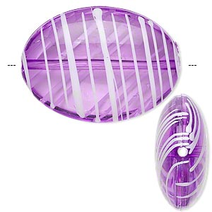 bead, acrylic, semitransparent purple and white, 33x24mm puffed oval with painted line design. sold per pkg of 18.