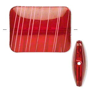 bead, acrylic, semitransparent red and white, 40x30mm puffed rectangle with painted line design. sold per pkg of 12.