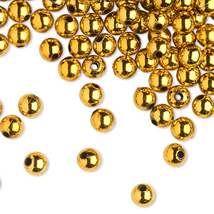 bead, acrylic, shiny metallic gold, 8mm round with 2.4-2.5mm hole. sold per 200-gram pkg, approximately 650-750 beads.