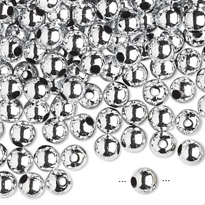 bead, acrylic, shiny metallic silver, 6mm round. sold per 100-gram pkg, approximately 750-950 beads.