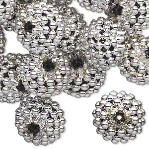 bead, acrylic, silver color, 15mm round with razzleberry design. sold per pkg of 50.