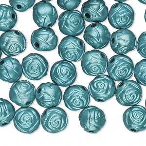 bead, acrylic, teal blue, 8mm round rose with 1.5mm hole. sold per pkg of 100.