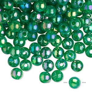 bead, acrylic, translucent emerald green ab, 6mm round. sold per 100-gram pkg, approximately 900-1,000 beads.