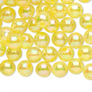 bead, acrylic, translucent yellow ab, 8mm round with 2.4-2.5mm hole. sold per 200-gram pkg, approximately 800-900 beads.
