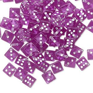 bead, acrylic, transparent purple and opaque white, 5mm dice. sold per pkg of 100.