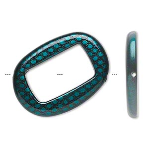 bead, acrylic, turquoise blue and black, 45x32mm diagonally drilled flat open oval with snakeskin design and 29x17mm center hole. sold per pkg of 24.