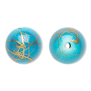 bead, acrylic, turquoise blue and gold, 18mm round with swirls. sold per pkg of 30.