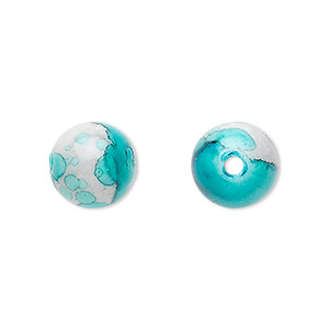 bead, acrylic, turquoise blue and grey, 12mm round. sold per pkg of 100.