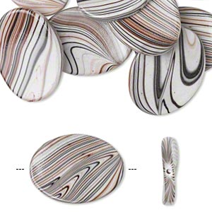 bead, acrylic, white / black / brown, 35x26mm curved oval with stripes. sold per pkg of 10.