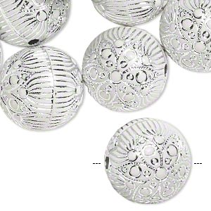 bead, acrylic, white and silver, 18mm round with flower and line design, 2.5mm hole. sold per pkg of 24.