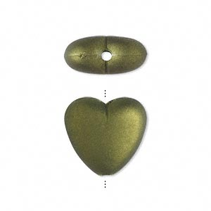 bead, acrylic with rubberized coating, avocado green, 17x15mm heart. sold per pkg of 100.