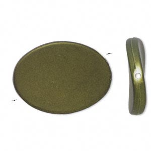 bead, acrylic with rubberized coating, avocado green, 35x26mm flat twisted oval. sold per pkg of 25.