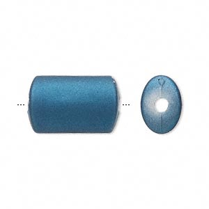 bead, acrylic with rubberized coating, blue, 19x12mm oval tube. sold per pkg of 60.